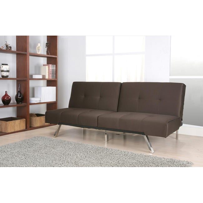 Jacksonville brown fabric foldable futon sofa bed for Sectional sofa bed overstock