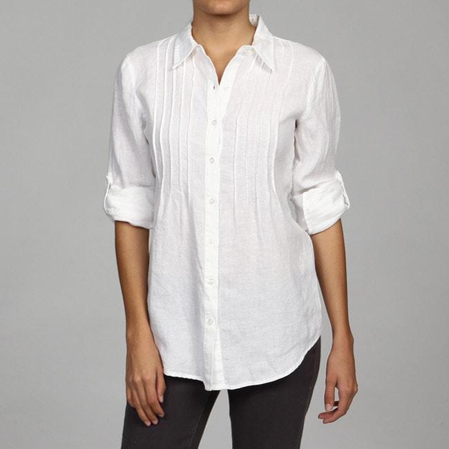 Calvin Klein Women 39 S White Linen Pintuck Blouse 13338901