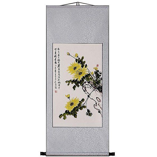 'Chrysanthemum' Wall Art Scroll Painting (China)