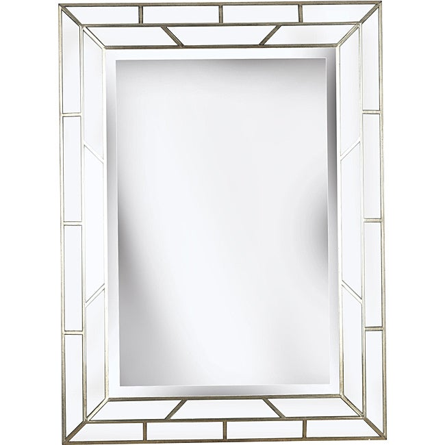 Crystal 38x28 Silver Beveled Wall Mirror