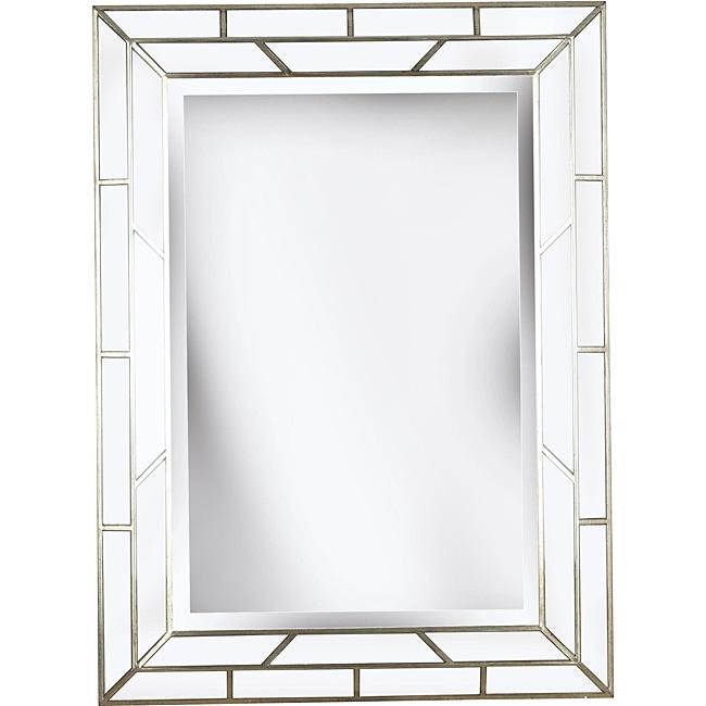 Crystal 38x28 Silver Beveled Wall Mirror