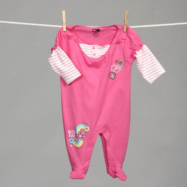 Ecko Newborn Girl's Rainbow and Flower Bodysuit