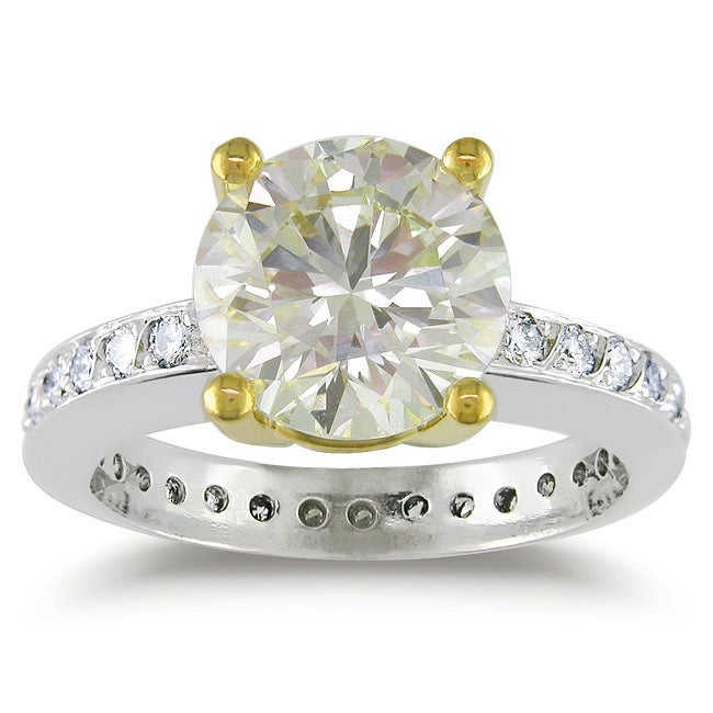 Miadora Platinum 3 1/2ct TDW Certified Round Solitaire Diamond Ring (VS1-VS2)