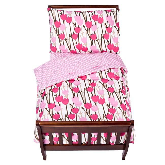 Tulip 4-piece Toddler Girl's Twin-size Bedding Set