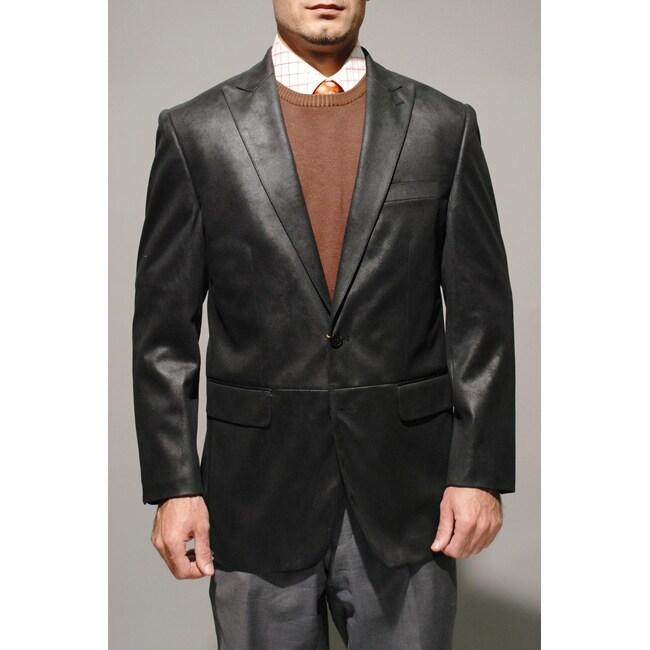 Men's Black Faux Leather Sportcoat