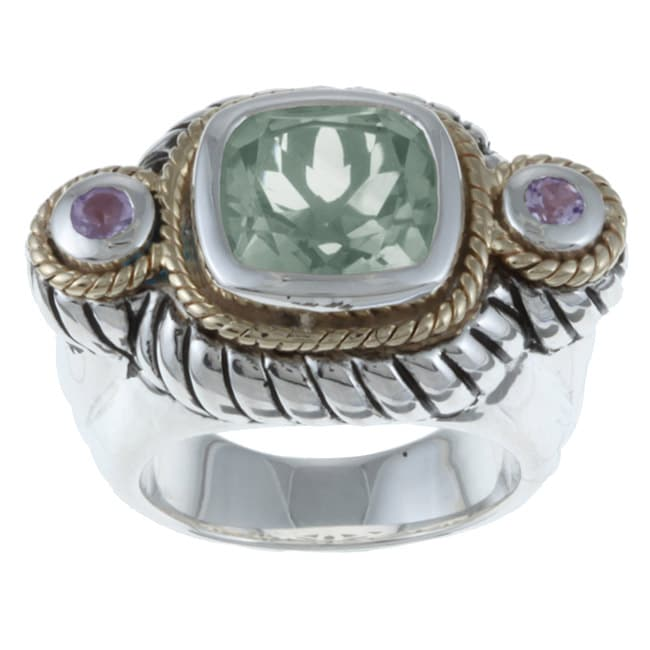 Savant Sterling Silver and 14k Gold Green and Purple Amethyst Ring