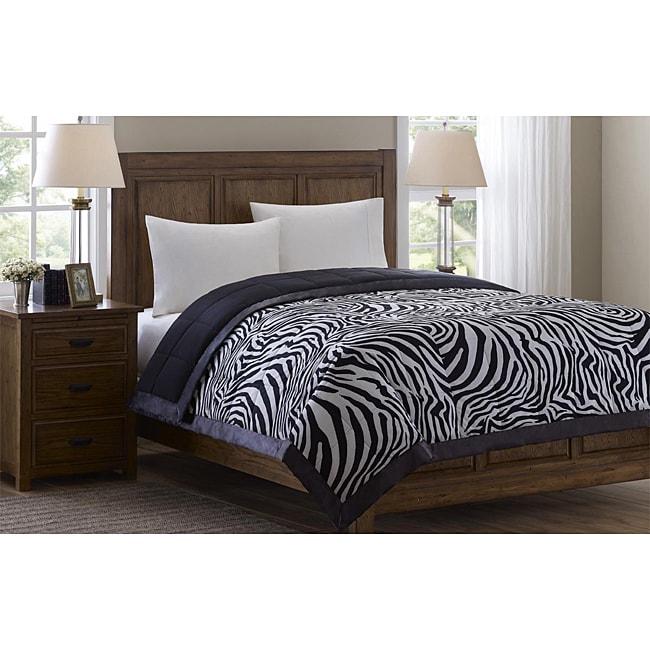 Softspun Zebra Print King-size Down Alternative Blanket
