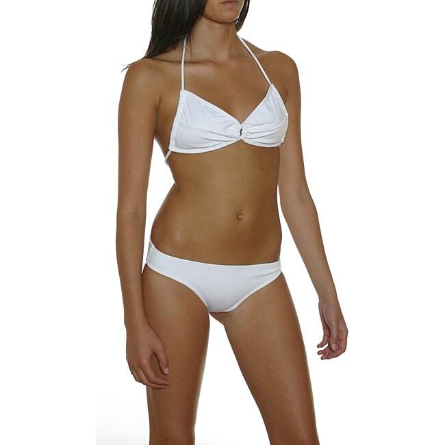 Prov'n by Lucenti Swimwear Women's White Bandeau Bikini