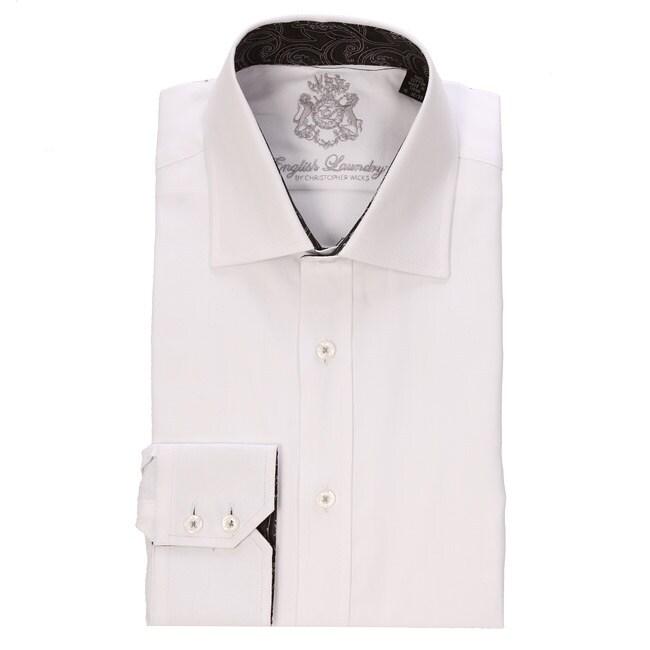 English laundry men 39 s white herringbone dress shirt for White herringbone dress shirt