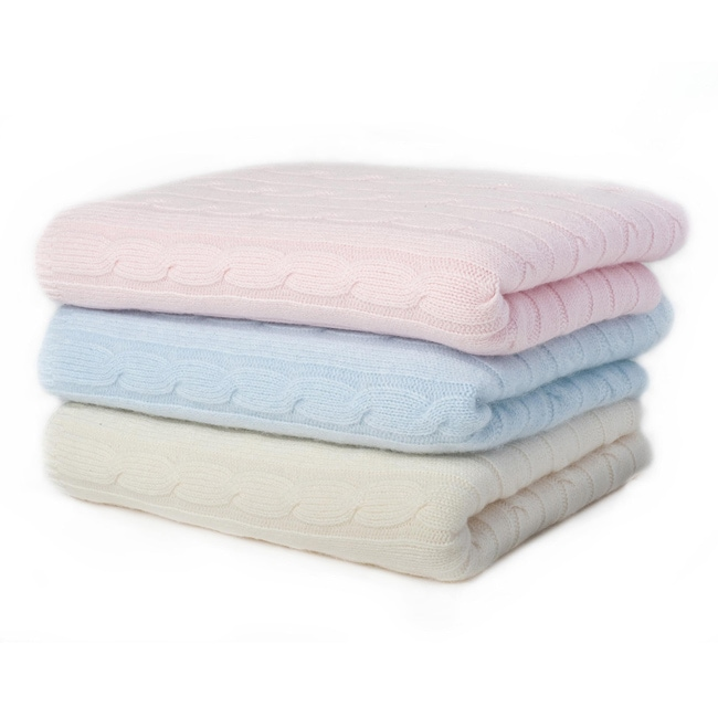 Sophia Cashmere Classic Cable Knit Baby Blanket 13362578