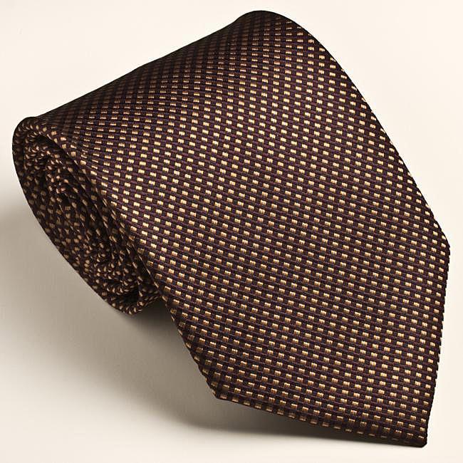 Platinum Ties Men's Patterned Brown 'Maple Runner' Tie