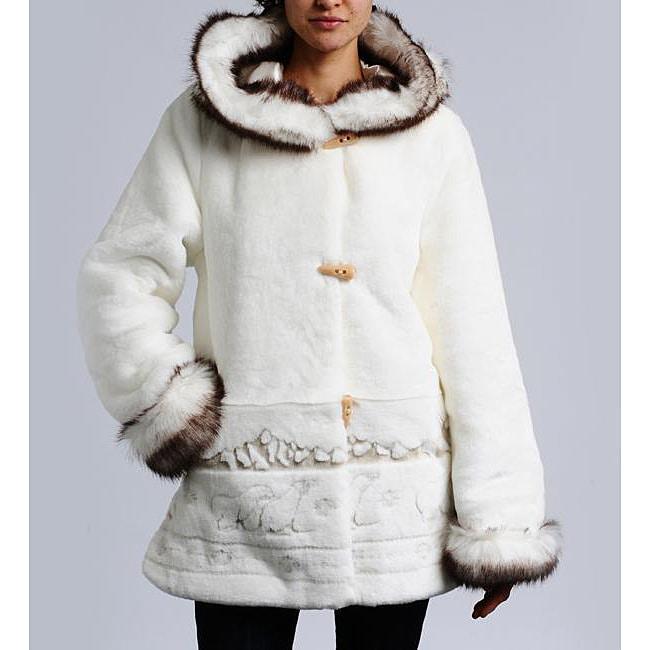 Nuage Women's Hooded Faux Fur Trim Coat