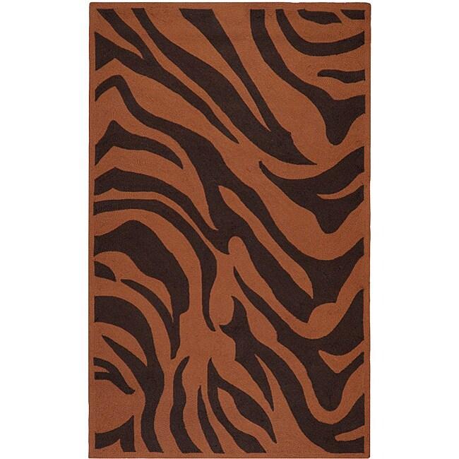 Hand-hooked Bliss Outdoor Brown Indoor/Outdoor Animal Print Rug (9' x 12')