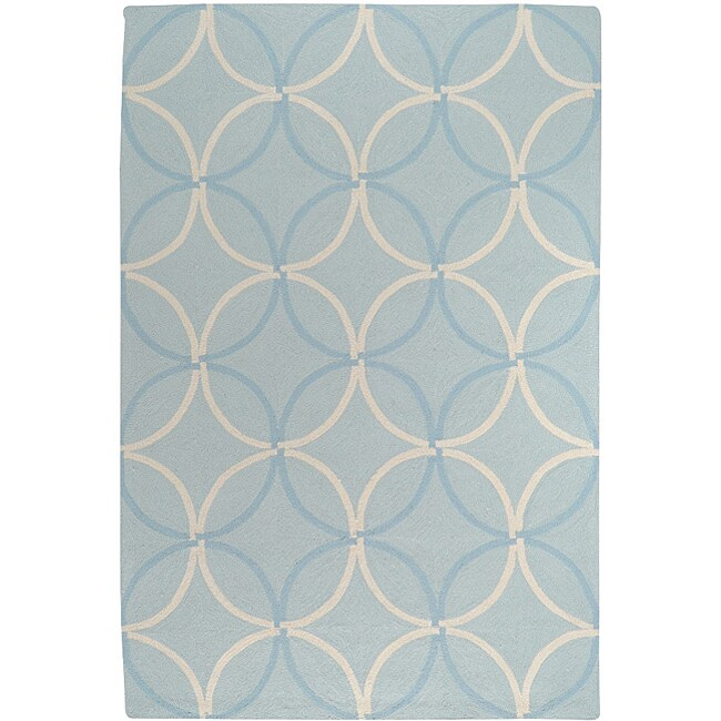 Hand-hooked Bliss Pale Blue Indoor/Outdoor Moroccan