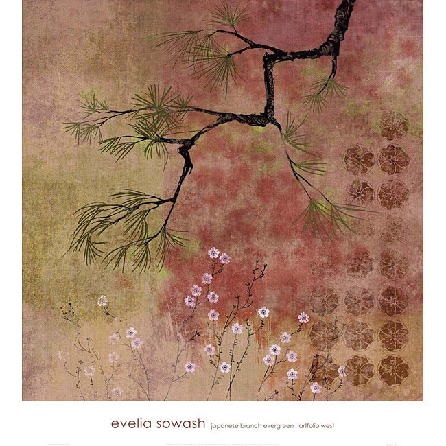 Evelia Sowash Japanese Branch Evergreen Gallery Wrapped Canvas