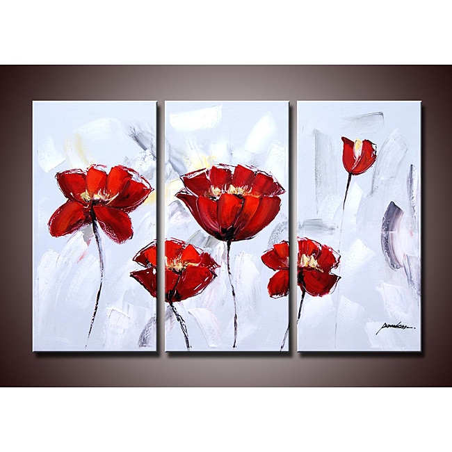 Red Flower 284 3 piece Gallery wrapped Canvas Art Set
