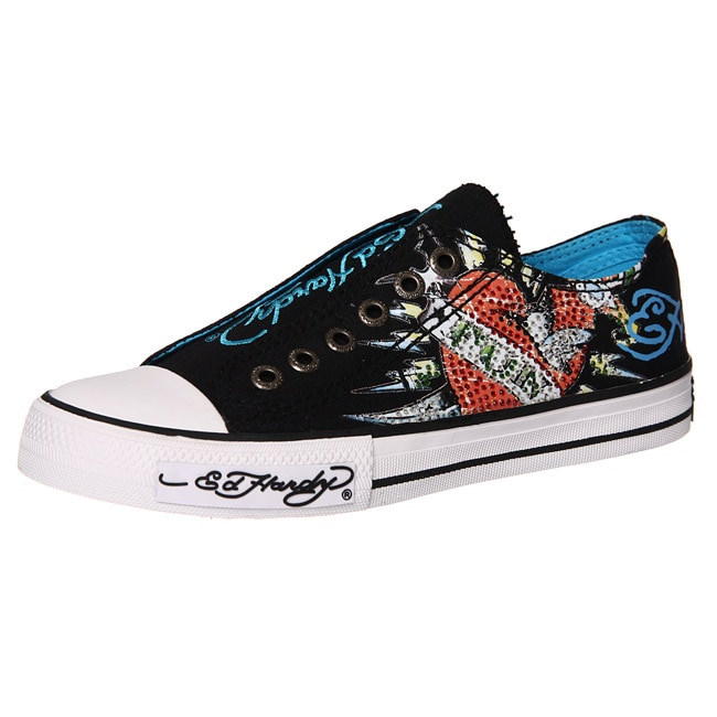ed hardy s shimmer lowrise black canvas sneakers