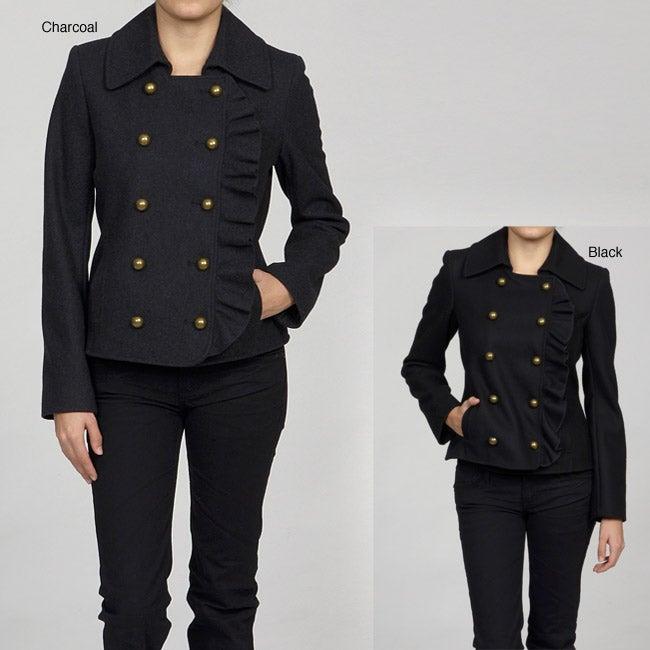 DKNY Women's Ruffle Front Peacoat