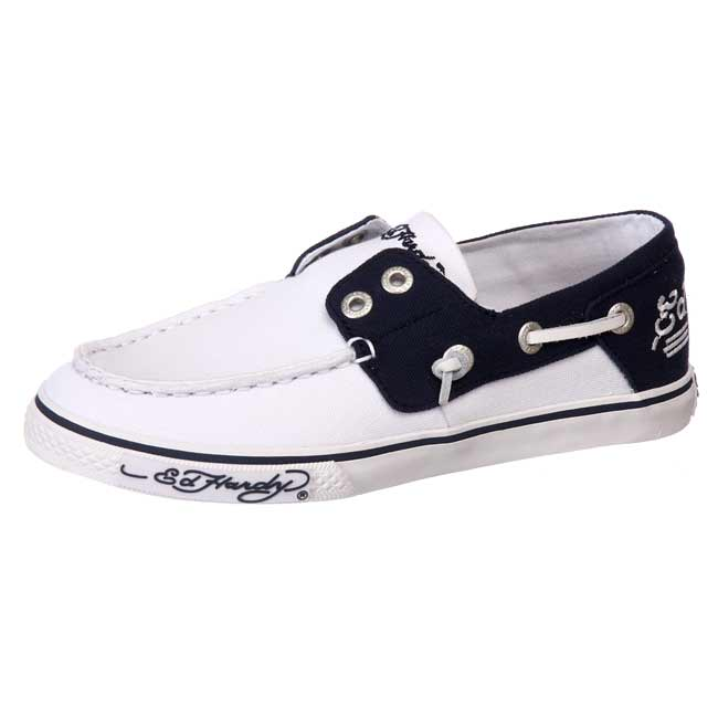 ed hardy s mar white canvas boat shoes