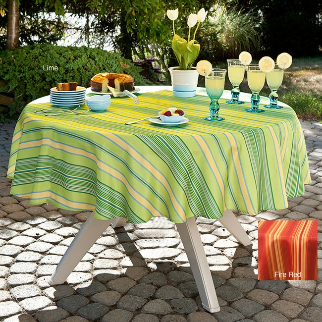 Cabana Stripe 70 in Round Indoor/ Outdoor Stain Resistant Tablecloth Fire Red