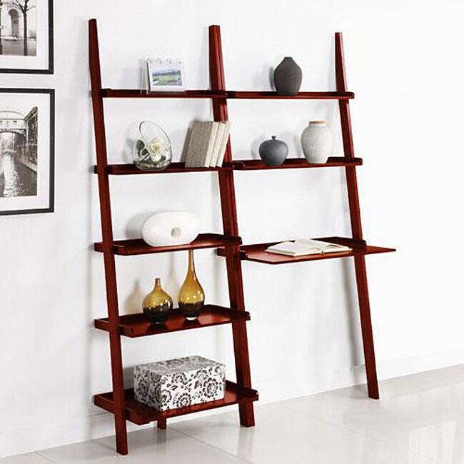 Cherry 2-piece Leaning Ladder Shelf