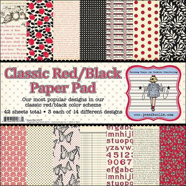 Classic Red/ Black Scrapbook Paper Pad