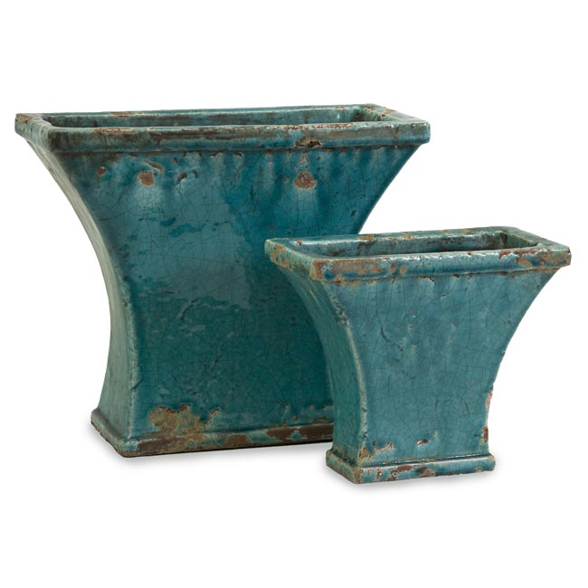 Set of 2 Argento Fan Distressed Turquoise Planters