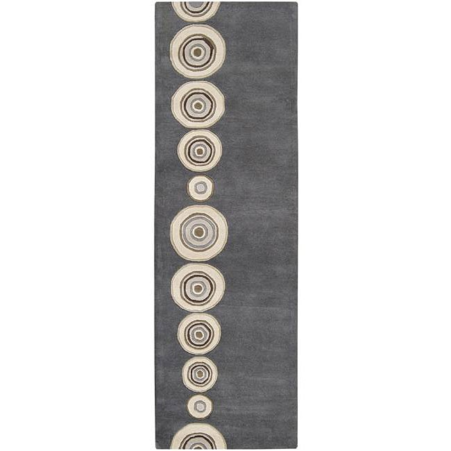 Hand-tufted Contemporary Circles Dazed Charcoal Grey Wool Geometric Rug (2'6 x 8')