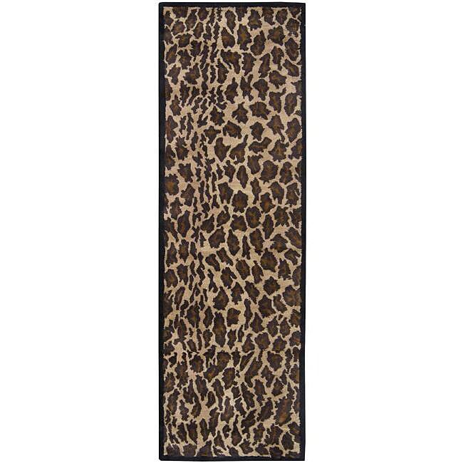 "Hand-tufted Brown Leopard Animal Print Safari Wool Rug (2'6"" x 8')"