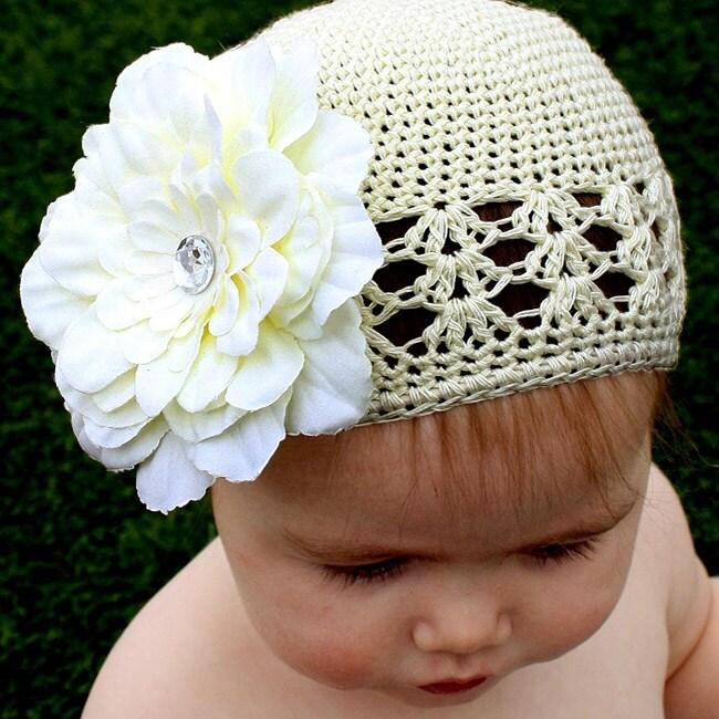 Headbandz Crochet Baby and Toddler Cream Kufi Hat with Flower
