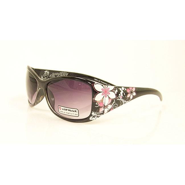 Airwalk Women's 'Swell' Black with Flower Detail Fashion Sunglasses