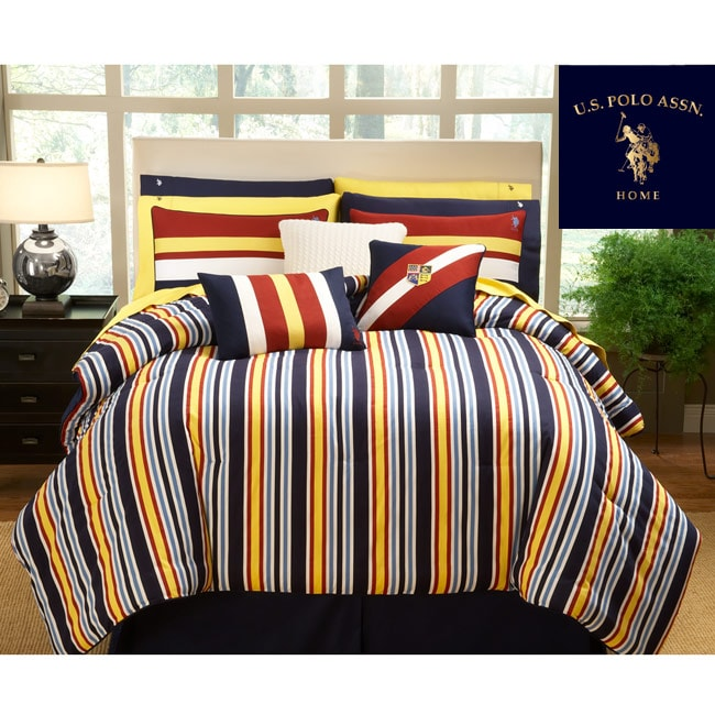 US Polo Association port Stripe 3-piece Twin-size Comforter Set