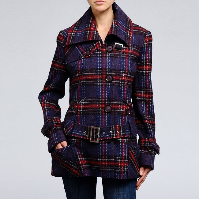 Nicole Miller Women's Plaid Wool-blend Low Belted Coat