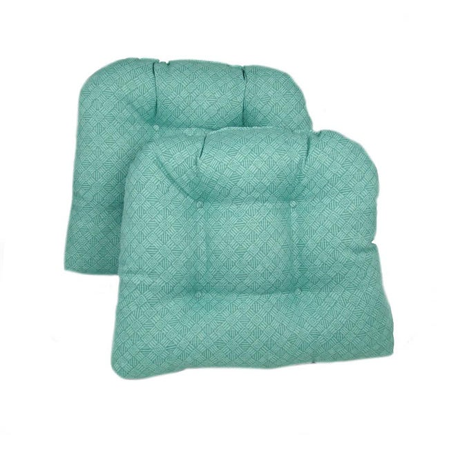 Blue/Green Kitchen/ Dining Chair Pads (Set of 2)