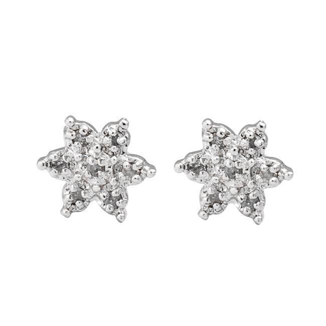 Sterling Silver 1/10ct TDW Diamond Flower Earrings (J-K, I3)