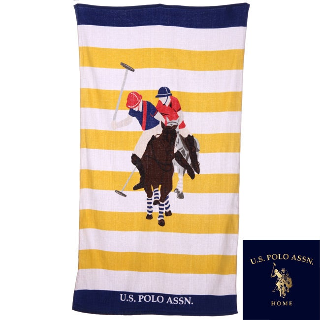 U.S. Polo Association Rugby Stripe 34x64 Yellow and White Beach Towel