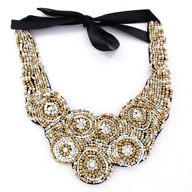 West Coast Jewelry Black Felt Multi-colored Bead Bib Necklace