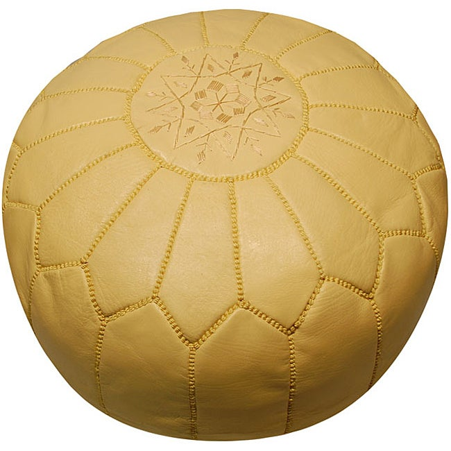 Leather Beige Pouf Ottoman (Morocco)