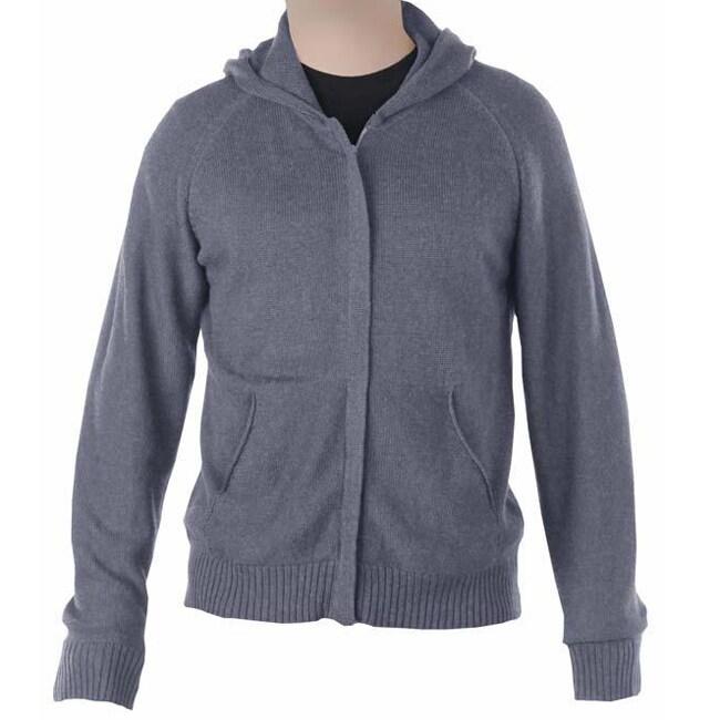 Men's Grey Merino Wool and Organic Cotton Hoodie (Peru)