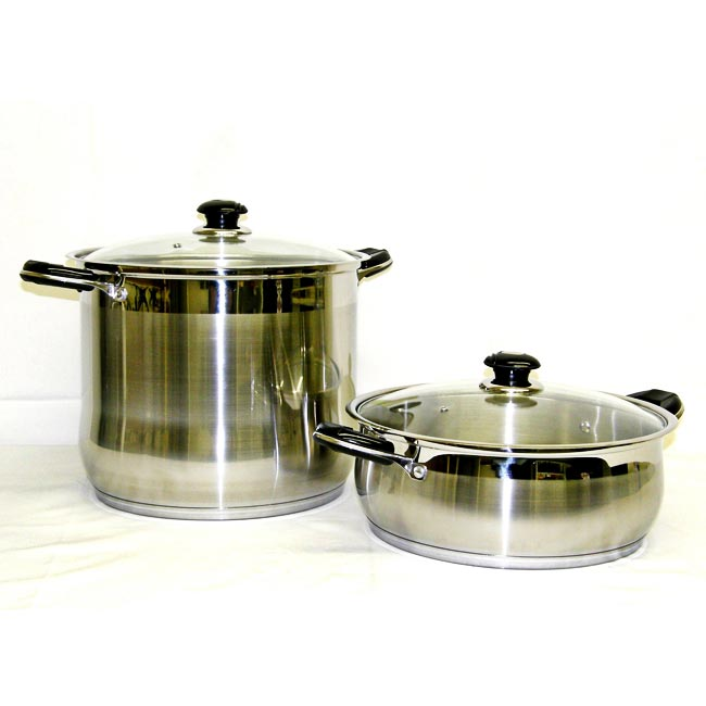 Prime Pacific 18/10 Heavy Duty Stainless Steel 24 qt. and 10 qt. Stock Pot Set