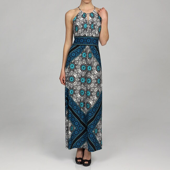 London Times Women's Halter Maxi Dress