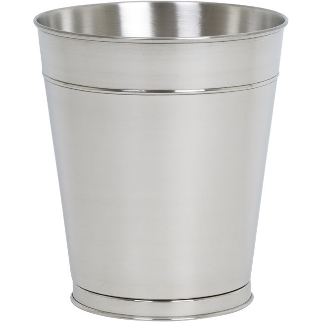Polished Silver Stainless Steel 10.5 in. Tall Round Wastebasket