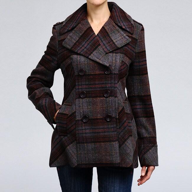 Nicole Miller Women's Plaid Wool-blend Pea Coat