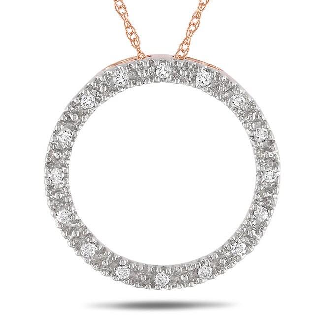 10k Pink Gold 1/10ct TDW Diamond Circle Necklace (G-H, I2-I3)