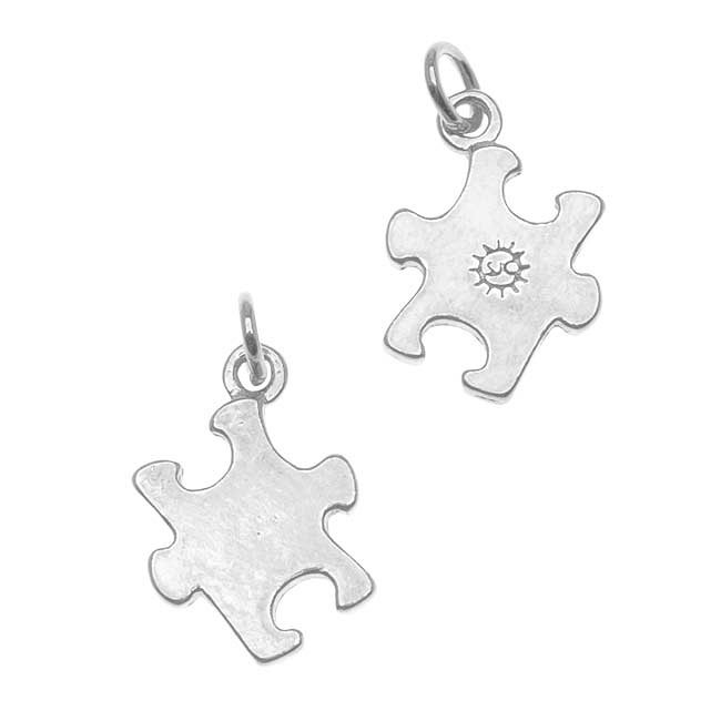 Silverplated Autism Awareness Puzzle Piece Charms (Set of 2)