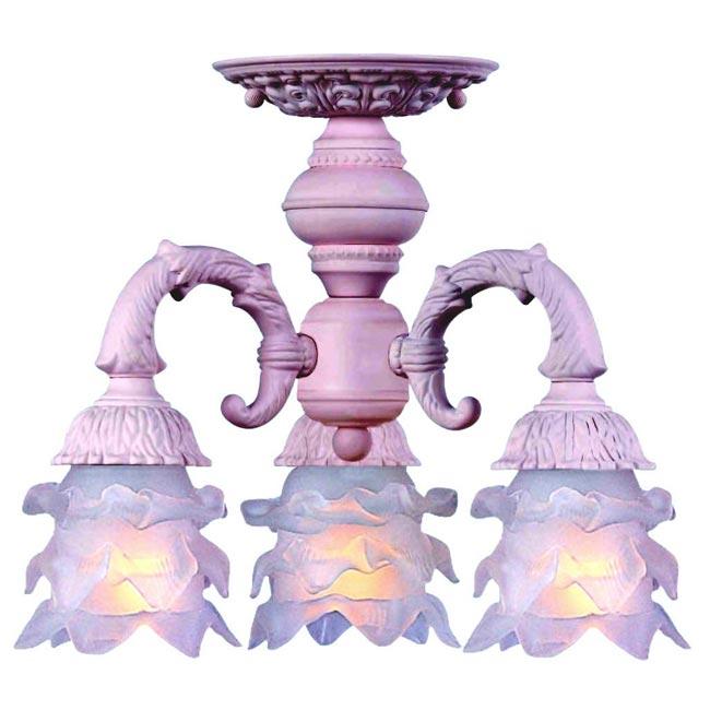 Paris Flea 3-light Semi-flush Blush Light Fixture