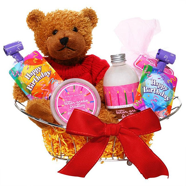 Spa-tacular Buttercream-scent Birthday Bear Metal Gift Basket