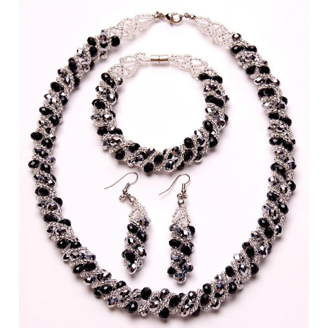 Silver and Steel Black/ Silver Crystal Twirl Jewelry Set