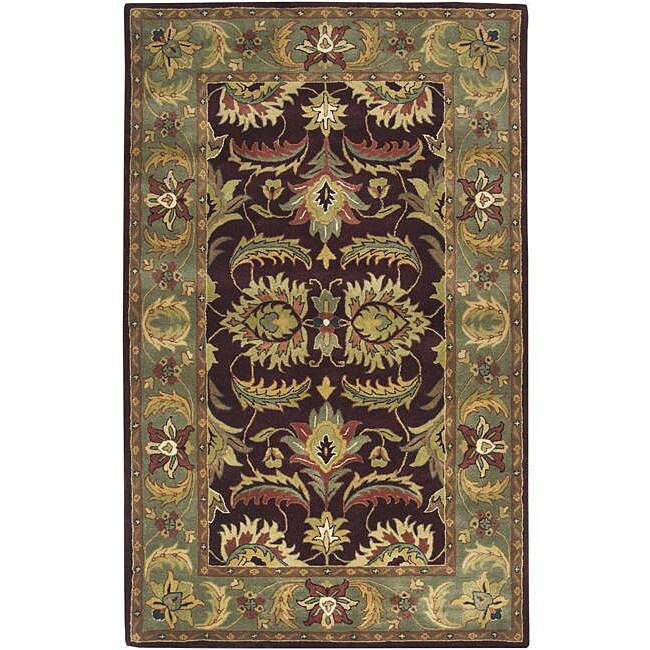 Hand-tufted Grandeur Burgundy Wool Rug (9' x 13')