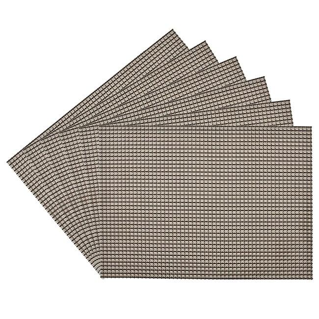 Longport Woven Vinyl Nickel Placemats (Set of 6)